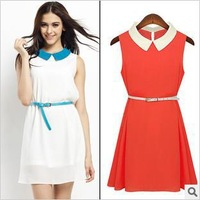 Free Shipping 2013 Ladies High Quality Autumn New Style Casual Peter Pan Collar Cotton Chiffon Dresses with Belt DM131570