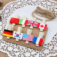 Free shipping  flag wooden clip mini  small clip photo clip 40pcs/lot A099