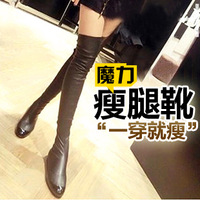 2013 New arrvial genuine leather boots ,knee-length motorcycle boots,low heel boots with zipper free shipping plus size 34-39