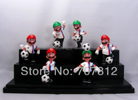 Box Packed Super Mario Bros Action Figures England Football Team  Collection Toys PVC 6PCS/Set High Quality Free Shipping