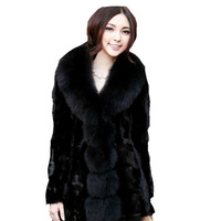 ZDFURS MINK FUR Mink fur coat  fox collar hooded Women fight mink medium-long marten overcoat