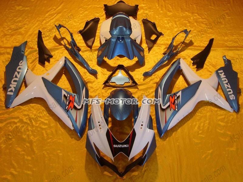 Motorcycle White Blue Suzuki GSXR 600 GSX-R 750 K8 Injection ABS Fairing 2008-2010 08 09 10 - Others(China (Mainland))