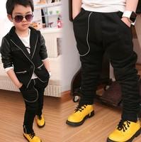 2014 fashion PU leather stitching jacket Children's suit, boy outerwear cardigan blazer,Fashion pants children's clothing
