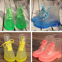 Fashion crystal jelly shoes women's flat heel transparent rain boots martin rainboots water proof  women's shoes