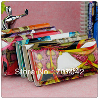 Gorgeous lady fashion long style wallet Long section Black zip continental WalletS with printed 5072