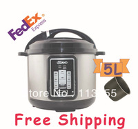 FEDEX  free shipping  2 pieces 5L electric multic cooker with high quality, single inner pot, non-stick inner pot,900W
