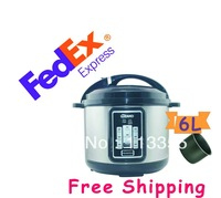 FEDEX  free shipping  2 pieces 6L electric multic cooker with high quality, single inner pot, non-stick inner pot,1000W