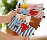 Large capacity 4 colors 20.5X9cm canvas pencil bags gift cartoon primary school students stationery bags stripe cat pen bag