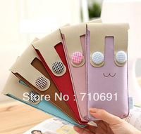 2013 fashion 5 colors 8.5x19.5cm Girl pencil bags school supplies rabbit vertical soft skin stationery bag
