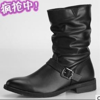 size38-43 2014 fashion men's buckle black pleated korean british style motorcycle martin boots male classic shoes 807