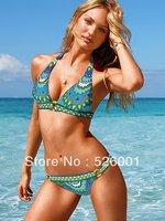 2013 Full-Lined High Contrast Floral Blooming Pattern Bikini Set Split Strap Swimwear Swimsuit S/M/L Mild Push up Free Shipping