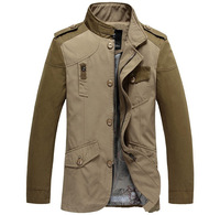 2014 New Arrival Men's Casual Fashion Long Sleeve Jacket Mandarin Collar Khaki and Dark Green  MWJ150