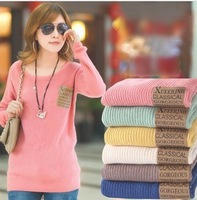 Free shipping  fashion sexy women's candy color round neck thick loose pullover sweater bottoming sweater ladies sweater coat