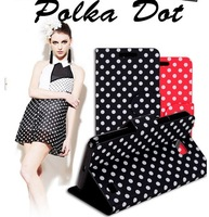 Polka Dot leather!New sweet flip cover case for Galaxy Note 2 N7100(5pcs/lot)