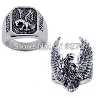 Topearl Jewelry 2pcs/LOT Eagle Stainless Steel Ring Cool Biker Mens Jewelry