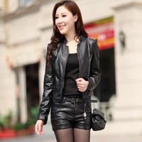 6175 2013 Autumn Fashion Classic Short Design Women's Motorcycle PU Leather Slim Jacket Plus Size Ladies Small Coat Outerwear