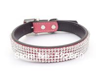 Free Shipping  new Dog Cat bling bling collar Rhinestone Collars Crystal Diamond Pet Dog Puppy Pu Leather Diamond Collars