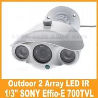 Free Shipping!! 1/3 SONY CCD Effio-E 700TVL outdoor 2 pcs Array LED CCTV camera, Security Camera waterproof (OSD Optional)
