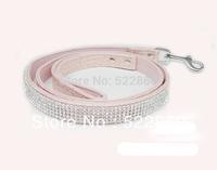 Collars Leads Free Shipping New Bling Rhinestone dog cat collar Crystal Jeweled PU Leather Pet Cat Dog  Leash
