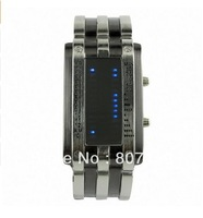 Free Shipping,hot sale Trendy Design Long Lasting Shockproof Army Style LED Watch with Alloy Bracelet and 28 Blue LED Lights