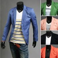 2013 Free Shipping Men   Blazer Jacket Candy Color Suit Double Button Cardigan Coat XS  S  M  L 5Colors