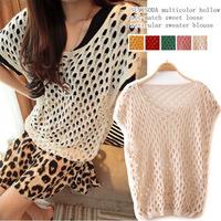 sweater women big item spring summer loose plus size cutout pullover short-sleeve sweater shirt sweater women's ourwear