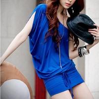 off one shoulder dress black dress mini dress for women club blue clubwear sexy sheath women dress free shipping