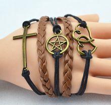 wholesale leather cross bracelet