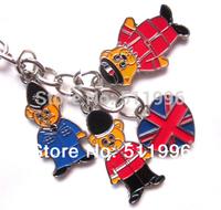 2014 new London souvenirs key chains UK key rings 3 bear charms with UJ heart key chains