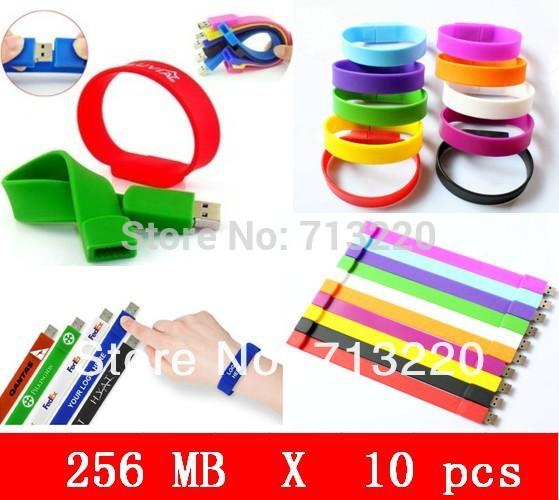 10pcs/lot X 256MB Wholesale Bracelet Genuine USB Flash Drive USB 2.0 Port USB Flash Drive Wristband Fast Shipping Hot sale!(China (Mainland))