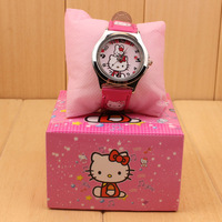 6PCS/lot Free shipping wholesale retail new hot sale hello kitty 3Dcartoon kids children wristWatch with boxes gift quartz watch