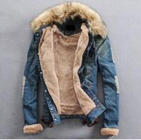 2013 autumn and winter thick denim outerwear large fur collar denim jacket slim denim coat lovers design