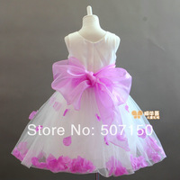 Free shipping 2014 White kids princess dress petals children's dresses flower girl dress for evening party  Baby girl dresses