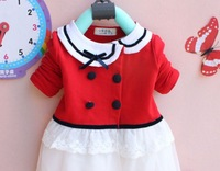 2013 autumn new arrival free shipping girls clothes  lapel five buckle