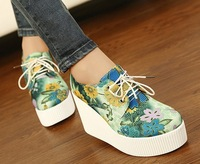 Free shipping,2013 Women newest print lace up wedges high heels platform fashion boots.casual canvas shoes.4 colors