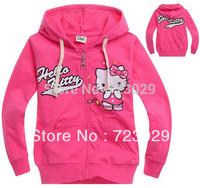 Drop ship Autumn-summer cartoon Children hoodies outwear Pink hello kitty girls clothes girl sport suit sweatshirs,free shipping