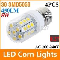 4X Free Shipping E27 5W SMD5050 LED Bulb 220V 450LM Warm White/White LED Lamp With 30 LEDs Spotlight Ultra Bright Energy Saving