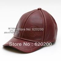 Free shipping Autumn and winter men's cowhide hat cap sunbonnet ear baseball cap
