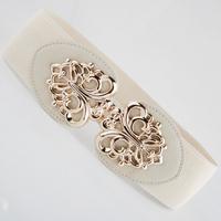 New Popular Free shipping 2014 Fashion punk hip cutout gold buckle elastic waist belt strape wide cummerbund trench female women