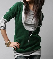Free Shipping, 2014 women's spring fashion plus size clothing ,women Sweatshirt, long design sweatshirt,big size autumn clothing