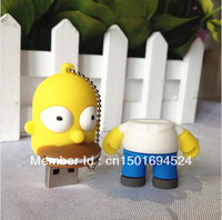New Fashion Cartoon cute Simpsons Homer 8GB 16GB 32GB USB 2.0 Memory Drive Stick Pen / usb flash drive /Thumb/Car free shipping