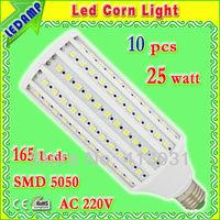 AC 220V lighting bulb e27 25w_ultra bright 165 led 5050 white e27 corn bulb lamp 360 degree 10 pcs/lot