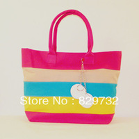 Free shipping 2013 women's handbag colorful stripe messenger bag casual bag rainbow summer fresh canvas bag