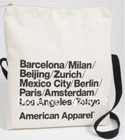 Free shipping American apparel canvas messenger bag zipper style tokyo