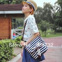 Free shipping Summer navy style stripe preppy style shoulder bag messenger bag canvas women's handbag
