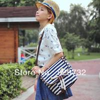 Free shipping Summer navy style stripe preppy style shoulder bag messenger bag canvas women's handbag