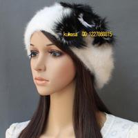 LZ quality fox fur flower women's beret winter rabbit fur hat thermal yarn winter cap