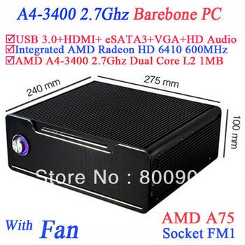 computer barebone pcs with AMD A4-3400 APU FM1 2.7Ghz Dual Core dual Thread 32nm 65W TDP L2 1MB 600Mhz AMD Radeon HD 6410 GPU