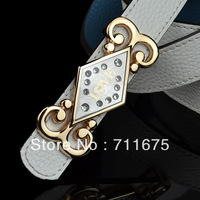 Hot sale Q06 wholesale Sweet strap women's decoration genuine leather belt female rhinestone strap cowhide pocket