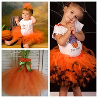 2013 Ball Gown Halloween Costumes Children Clothing Orange Black Tutu Skirt Sets/Outfits For Kids Girls 2T3T4T5Y6Y7Y8Y